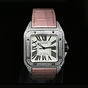 CARTIER SANTOS 100 MEDIUM  DIAMOND AFTERSET - CARTIER SANTOS 100 MEDIUM  DIAMOND AFTERSET
