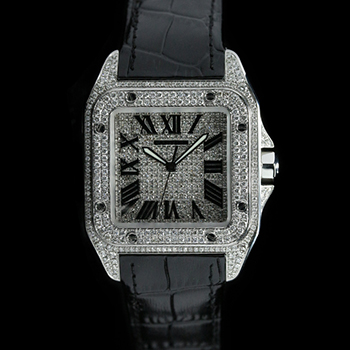 CARTIER SANTOS 100 XL2656 - CARTIER SANTOS 100 XL AFTERSET DIAMOND