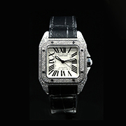 CARTIER SANTOS 100 MEDIUM 2878 - CARTIER SANTOS 100 MEDIUM  DIAMOND AFTERSET
