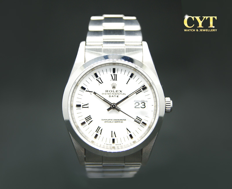 ROLEX OYSTER PERPETUAL DATE WHITE DIAL - ROLEX OYSTER PERPETUAL DATE WHITE DIAL